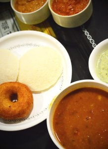 Steam Idli vada with sambar and 3 chutneys
