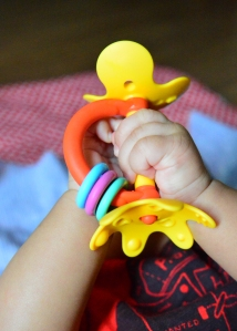 This teether goes where the baby goes
