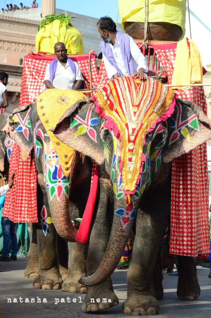 Finally the elephants leave the temple