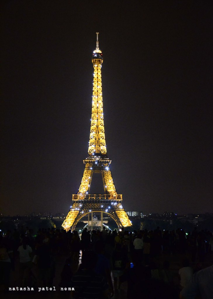 rushed our dinner and reached effiel tower dot at 11 p.m. to see it twinkle