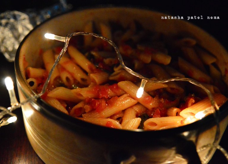 penne arabiatta with capsicum, corainder and chillies