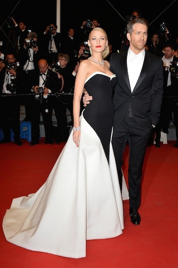 One of the most stylist people, Blake...black and white with tied hair, diamonds and red lipstick