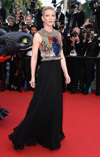 Cate blancette's Givenchy gown taught wear plain black bottoms with multicoloured elaborate top with just one accessories, her she wore understated earrings.