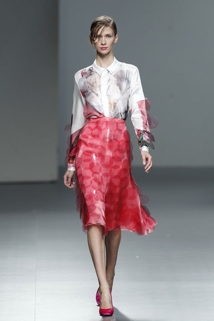 Textured skirt with details, fresh watermelon color. I would love to see this skirt used in a fashion photo shoot