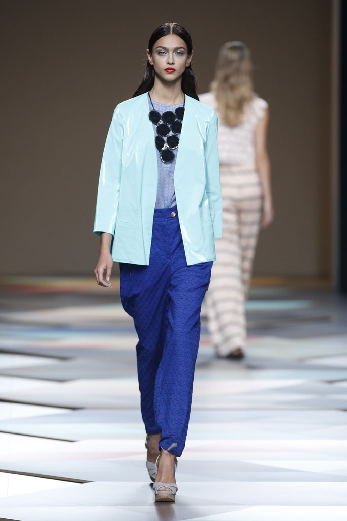 Different shades of blue put together. The lightest sky blue worn as a blazer.