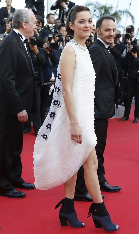 Marion's White Dior dress, very different sihouette. She has worn shoes that make a statement thus kept rest of it simple, nude makeup and no accessories