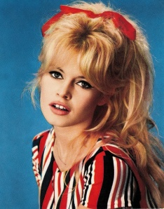 French actress bridget Bardot's bow in her hair