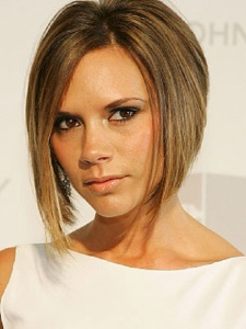 Victoria beckham's  bob with long in front and short in the back known as posh