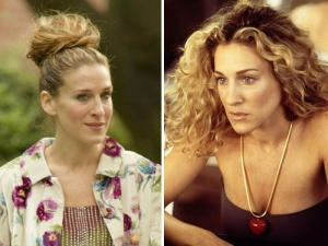 Sara Jessica Parker's tied up hair and her highlighted curls as Carrie Bradshaw in Sex and the city.