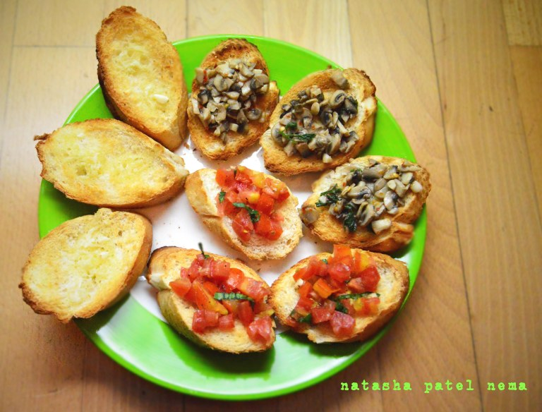 Garlic bread, brushettas and mushroom crostini