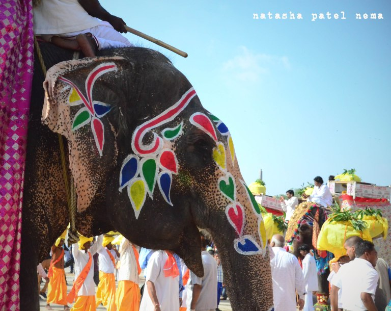 colorful painting on the elephant