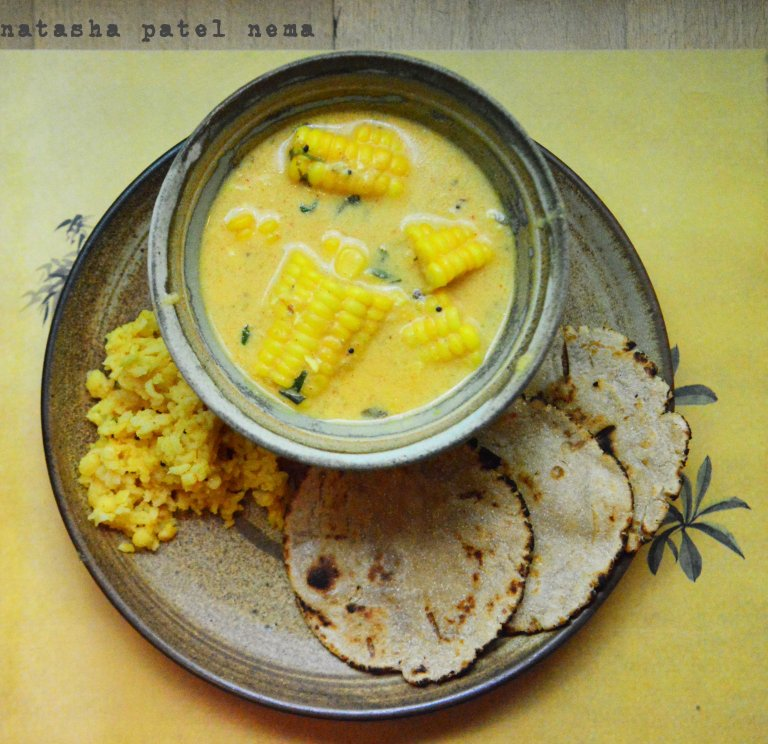 Corn curry, with bhakhari and tuvar dal khichadi