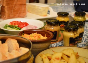 The day we got the parcel, for dinner we only had mustards...rest of the food was to go with the mustards...