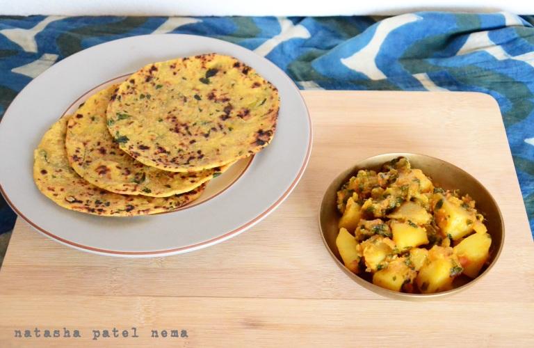 Aloo methi sabji and messi roti made from gram and whole wheat flour