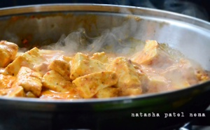 Sizzling paneer from the pan